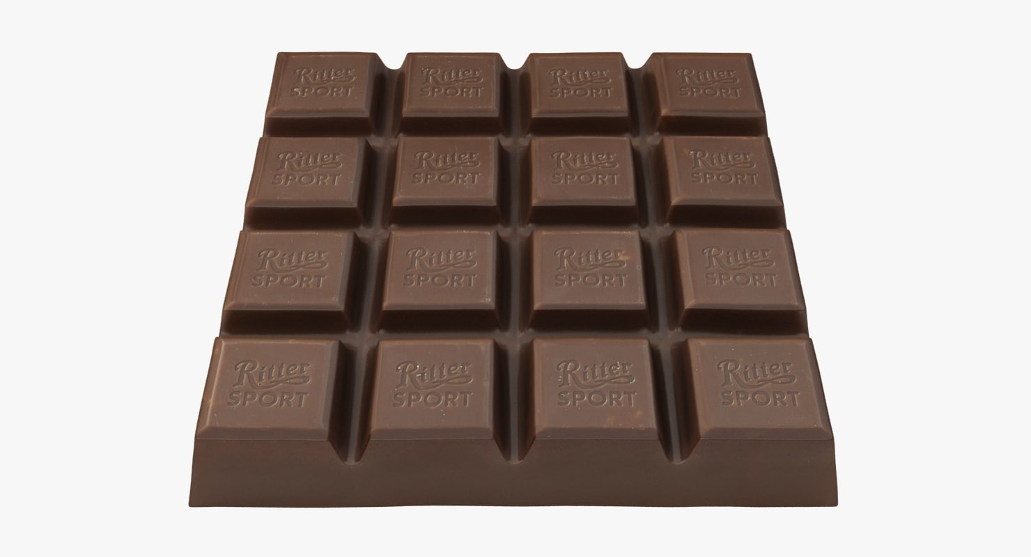realistic ritter sport chocolate 3D model