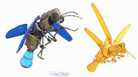 3D lightning bug flying animation model