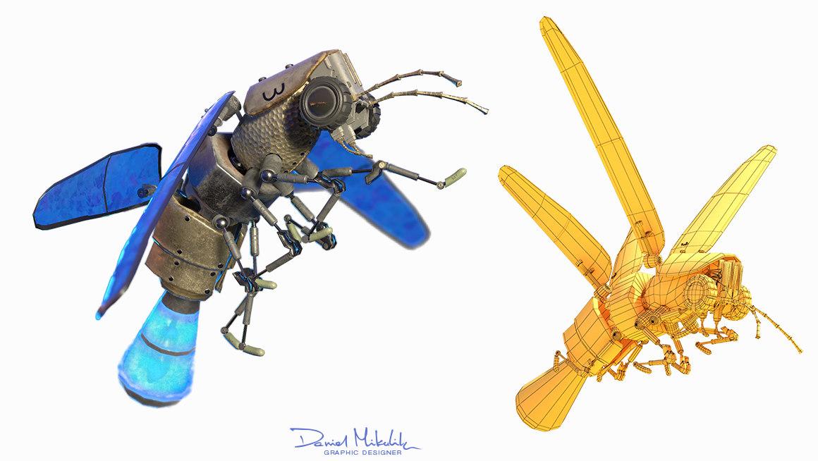 3D lightning bug flying animation model
