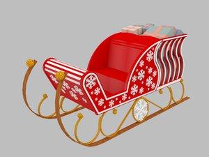 3D santa s sleigh