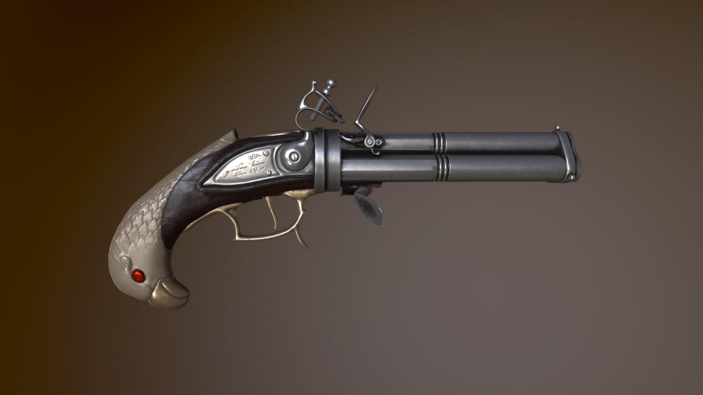 3D revolving flintlock pistol