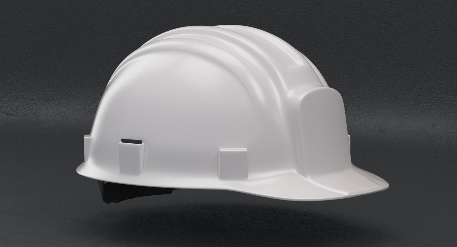 white hard hat - 3D model