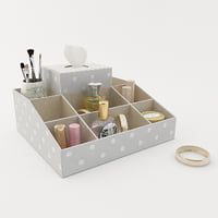 Eight Compartment Fabric Organizer W/ Tissue, Gray Dottie