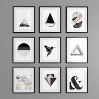9 framed graphics pictures 3D