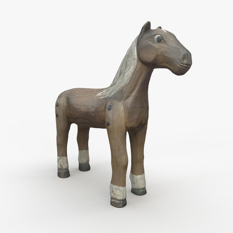 3D scanned 1 wood horse