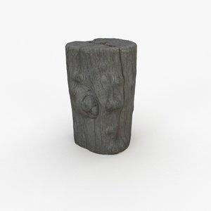 3D model scanned 1 wood log