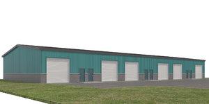 3D model commercial office warehouse doors
