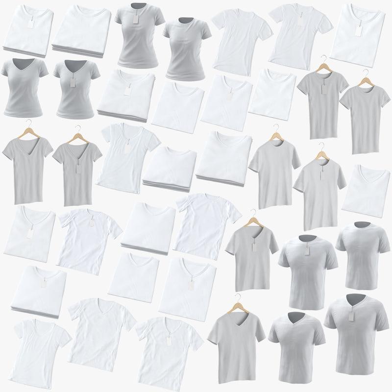 crew t-shirts male female 3D model