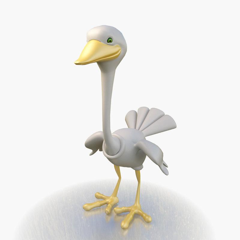 toon stork character 3D
