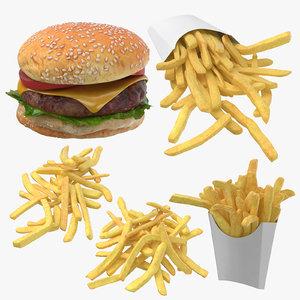 hamburger fries 3D model
