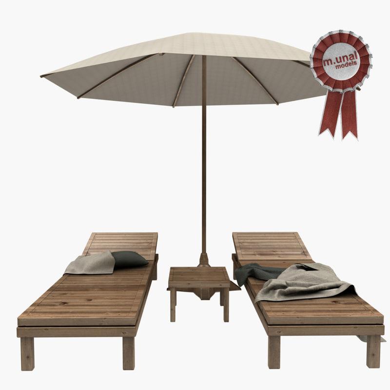 3D sunbed lounger garden model