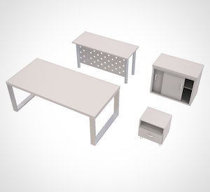 3D model minimalist table cabinet