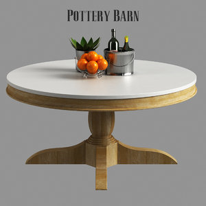 3D pottery barn alexandra coffee table