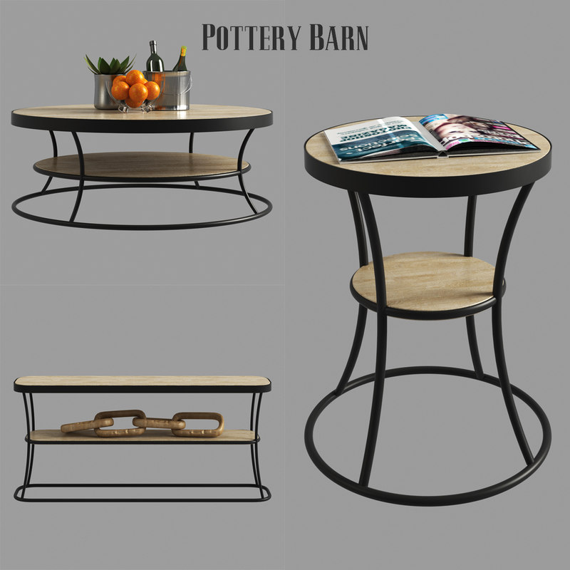D Bartlett Reclaimed Wood Coffee Table TurboSquid - Pottery barn bartlett coffee table
