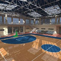 3D basketball school court