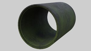 3D concrete pipe 1c model