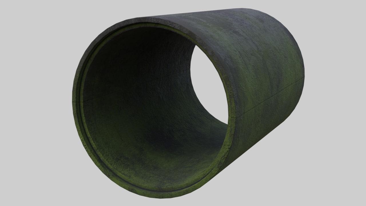 3D concrete pipe 1c model