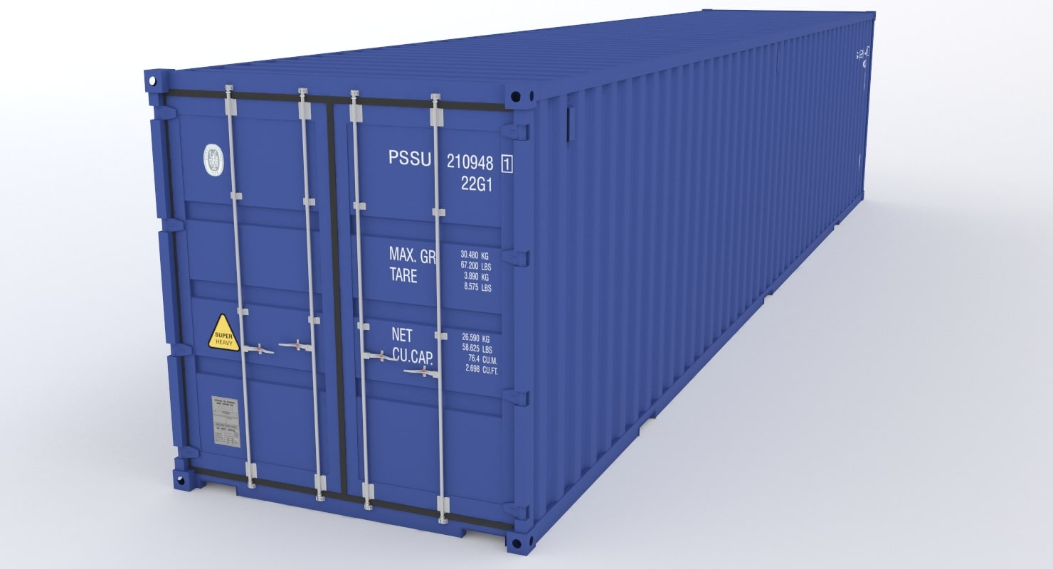 3D 40ft industrial container