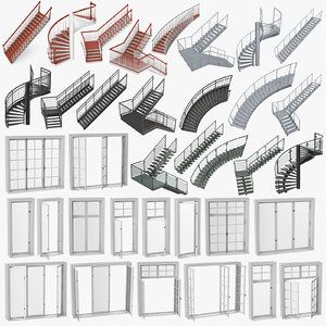 3D model staircases windows