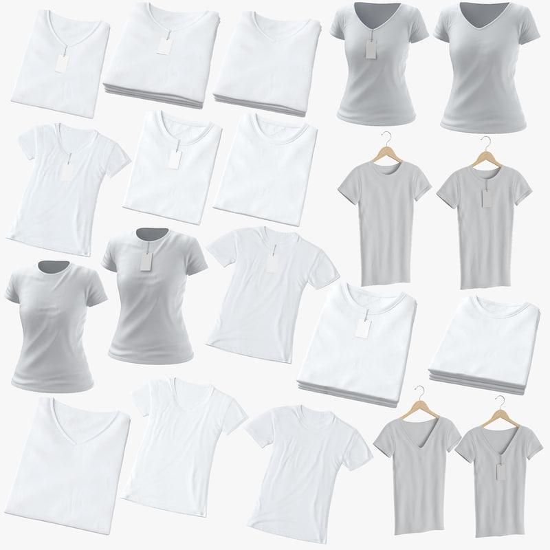 3D female t-shirts