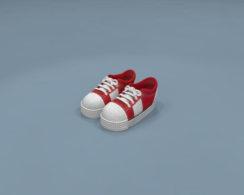 red sneakers 3D model
