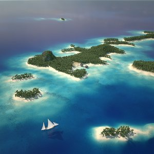 3D scene tropical islands model