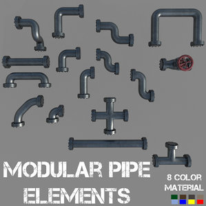 3D modular pipe elements