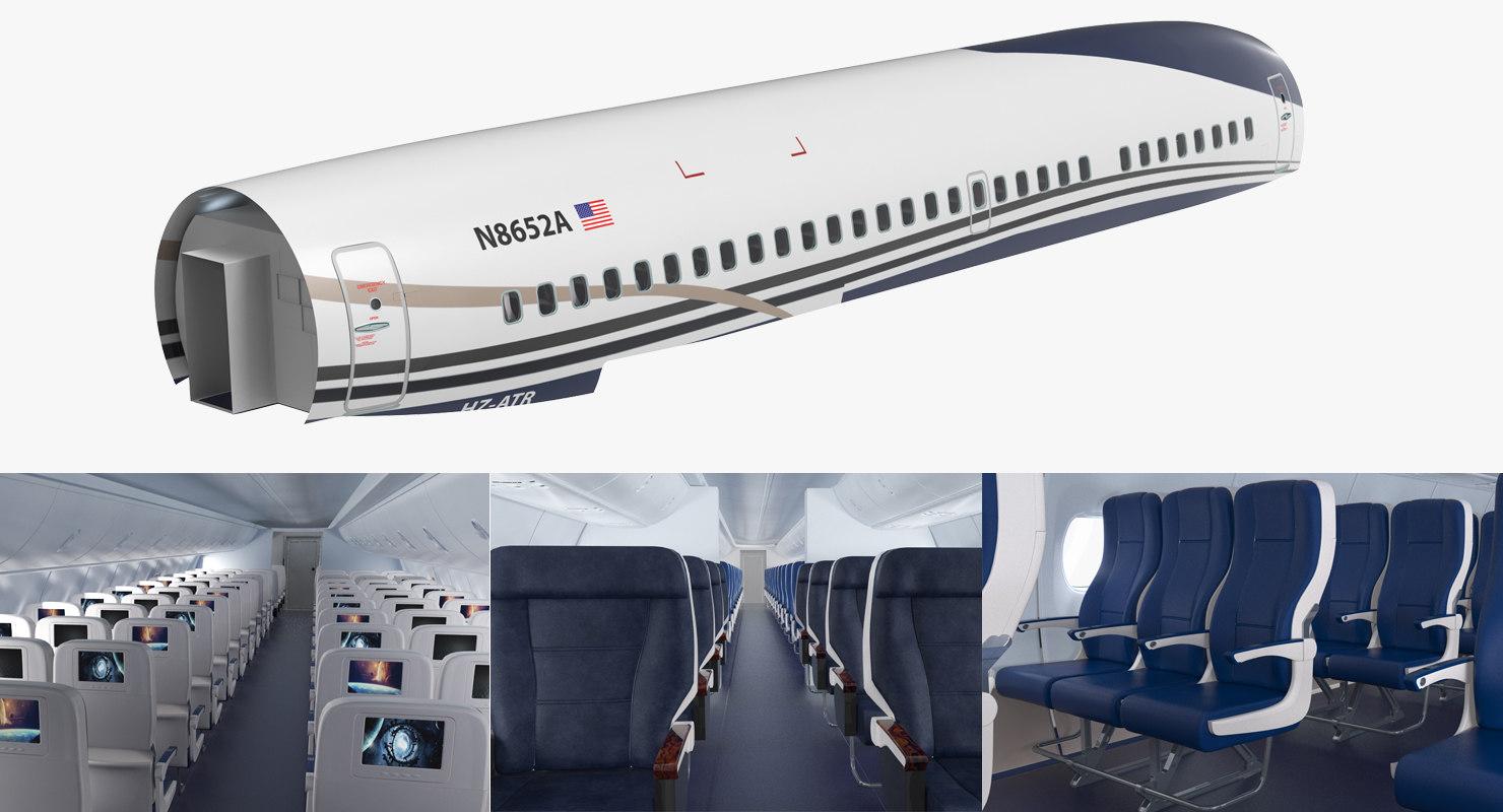 jet airplane passenger cabin 3D