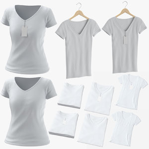 3D female v-neck t-shirts model