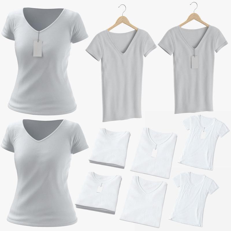 3D female v-neck t-shirts model