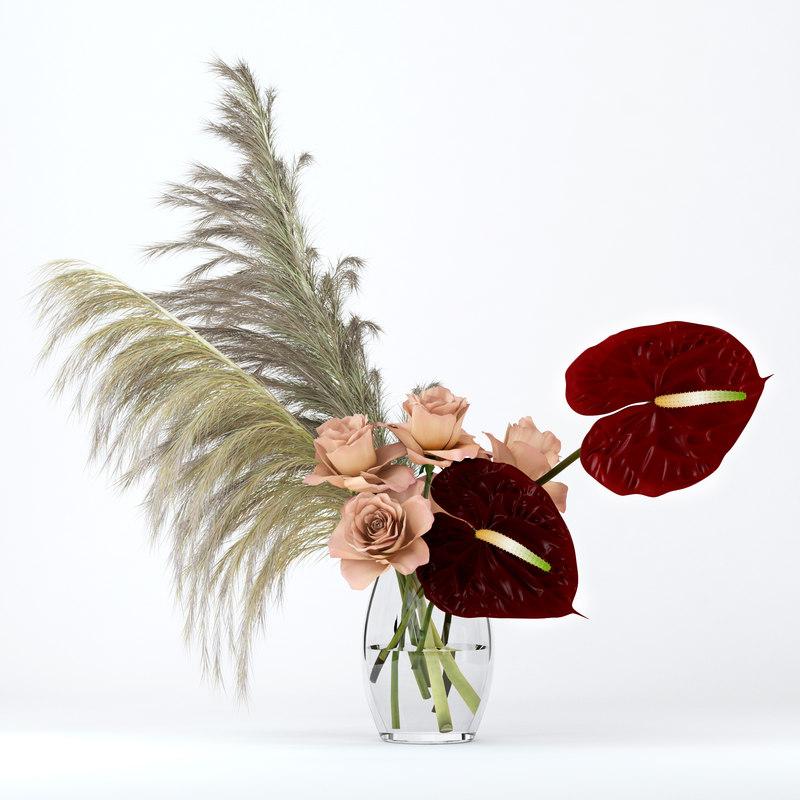 3D model realistic glass roses