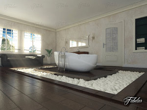 3D bathroom scene model