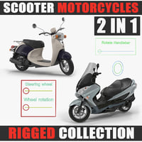 3D scooter motorcycles rigged