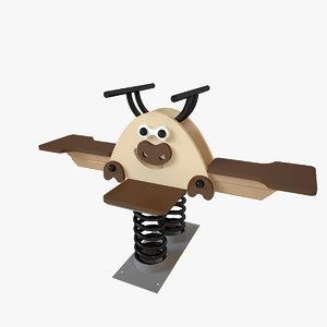 playground spring bull 3D model