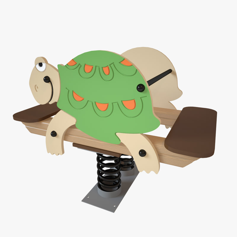 3D playground spring turtle model