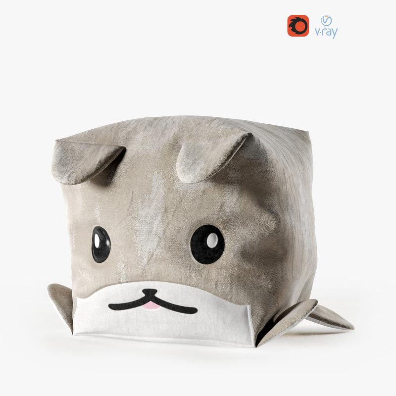 3D dog cube pouf model