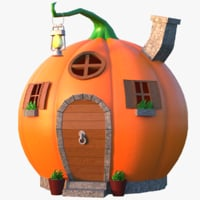 pumpkin cartoon house 3D model