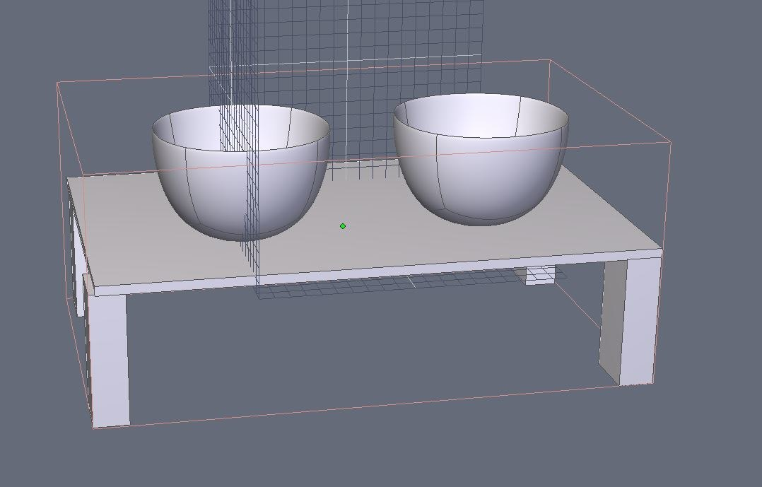 3D untextured tables bowls