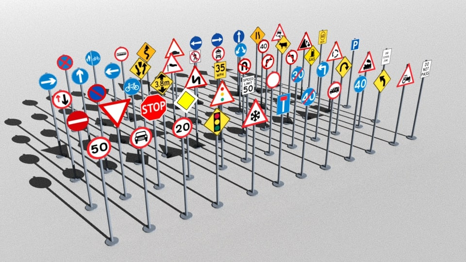 3D model traffic signs package
