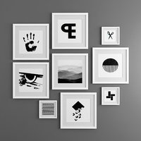 9 framed photos / graphic in black and white