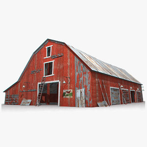 3D model photorealistic old barn