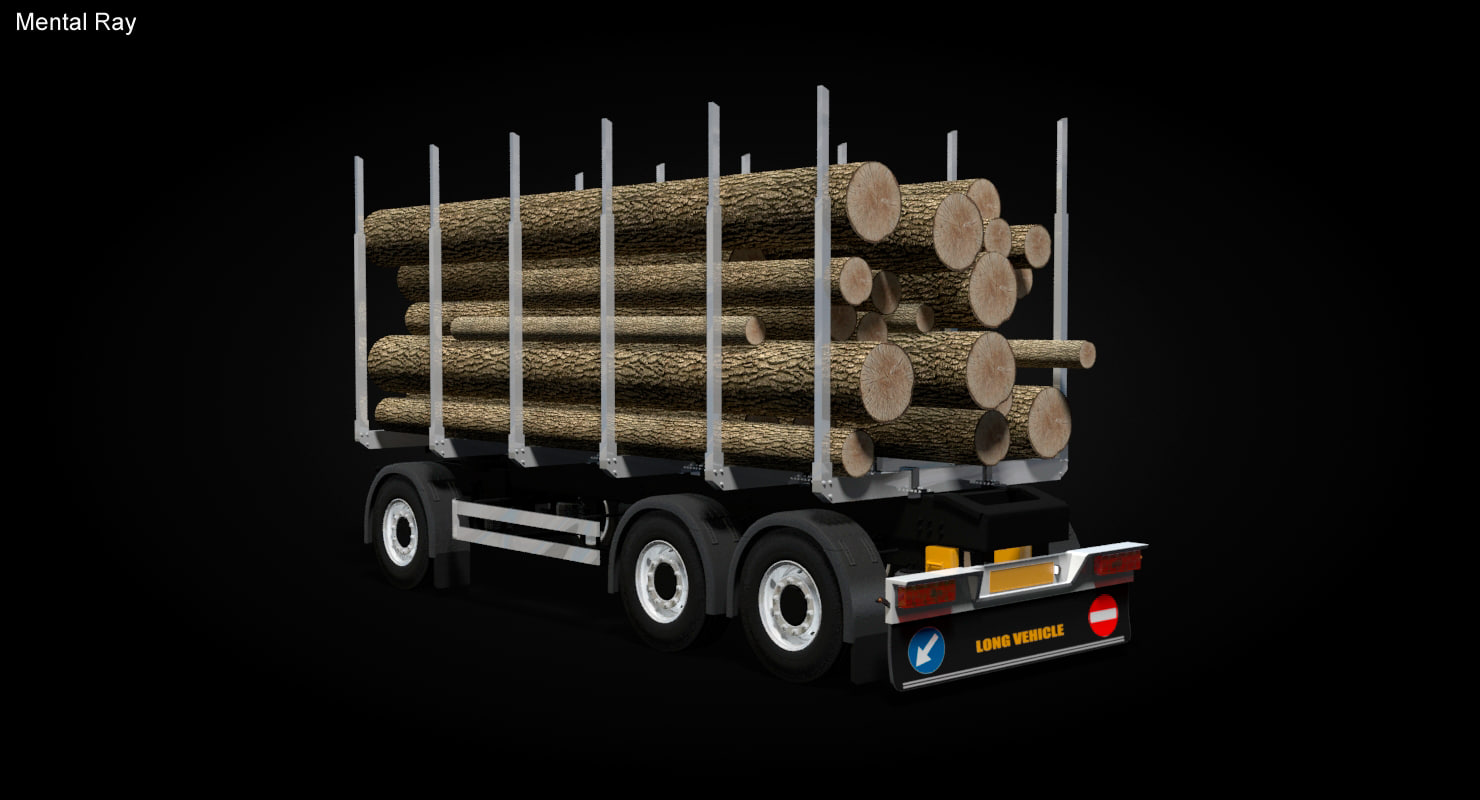 timber 2 axle trailer 3D model