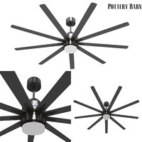 Pottery barn Odyn IndoorOutdoor Ceiling Fan Brushed Nickel With Brushed Nickel Blades