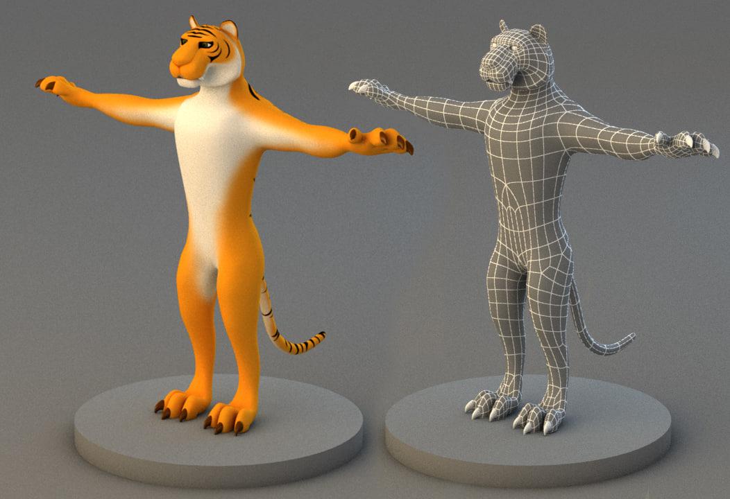 cartoon tiger character model