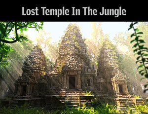 3D model lost temple jungle