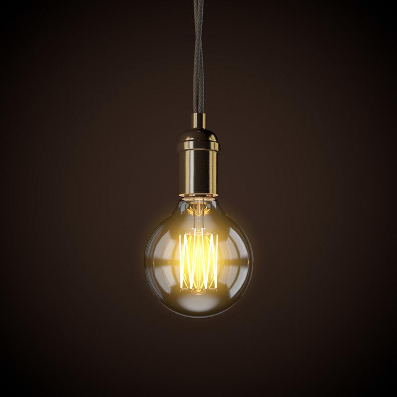3D vintage light bulb model