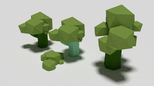 tree polygonal p 3D model