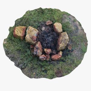 3D fireplace stones