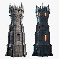 low-poly tower 3D model