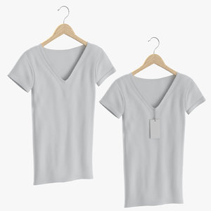 3D female v-neck t-shirts hanging